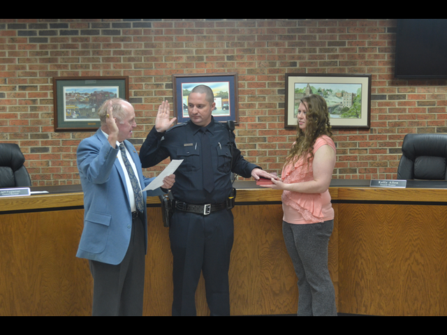 Officer Taylor swearing in January 23rd, 2017.